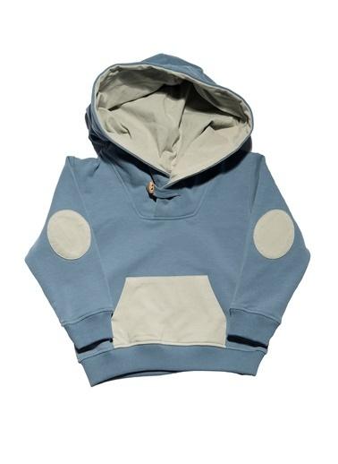 Nila Kids Gri-Mavi Rengi Erkek Çocuk Kapşonlu Organik Sweat NK08012GM (1 YAş- 5 YAş) Mavi